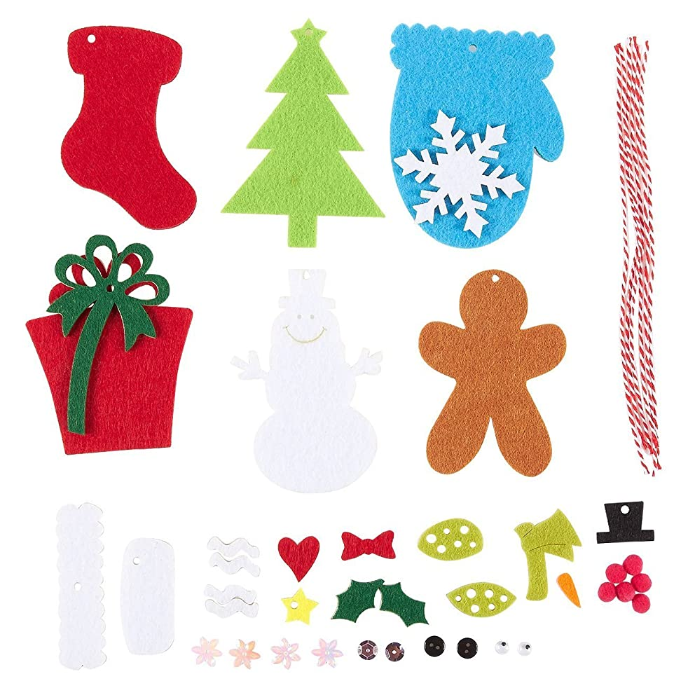 Juvale 6 Pieces Felt Applique Christmas Ornament Kit - DIY Fun for Kids and Adults Alike - Sew or Glue - Includes Christmas Tree, Present, Snowman, Christmas Stocking, Gingerbread Man, Mitten