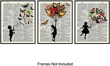 Children & Butterflies On Photo of Dictionary Page - Unframed Wall Art Prints - Great Easy Gift - Perfect for Office, Kitchen, Bedroom, Nursery - Chic Home Decor - Ready to Frame (8x10) Vintage Photos