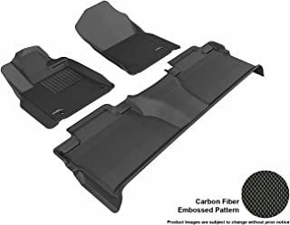 3D MAXpider Complete Set Custom Fit All-Weather Floor Mat for Select Toyota Tundra CrewMax Models - Kagu Rubber (Black)