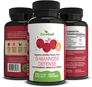 D-Mannose Defense Supplements (1000mg) – Safe, Natural Cleansing for Urinary Tract and Bladder Health- Helps Prevent UTI and Promotes Healthy Immune System and Gut Flora - 120 Capsules - By ForestLeaf