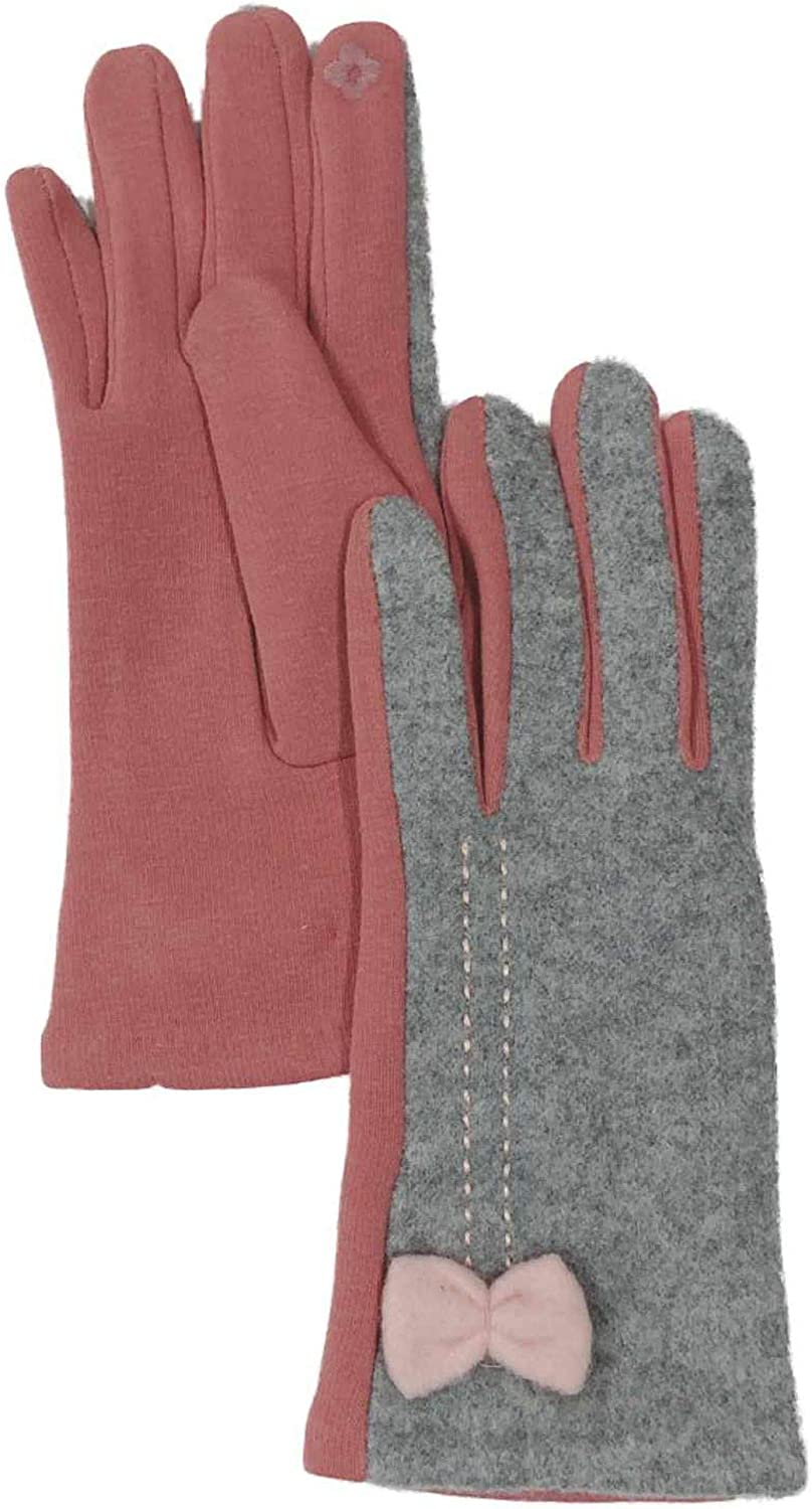 Womens Soft Gray & Pink Bow Stretch Fit Texting & Tech Touchscreen Gloves