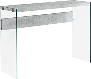 "Monarch specialties , Console Sofa Table, Tempered Glass, Grey Cement, 44""L"