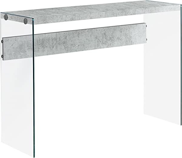 Monarch Specialties I 3232 Console Sofa Table Tempered Glass Grey Cement 44 L