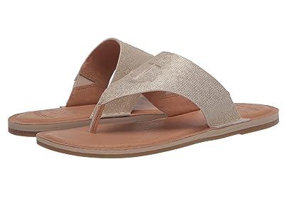 Sperry Seaport Thong Leather (Platinum Metallic) Women