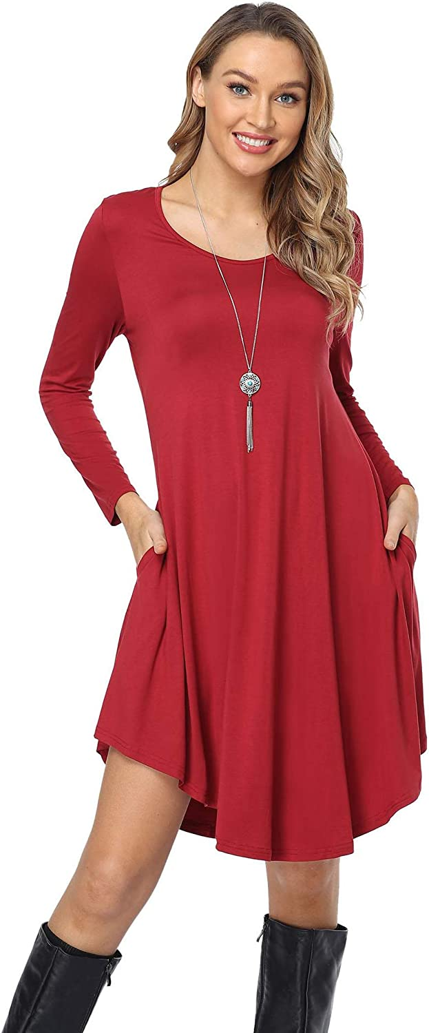 Old-Times Women's Casual Dress Loose Long Sleeve Summer Ruffle Round Neck Swing T-Shirt Dresses with Pockets