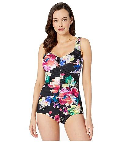Maxine of Hollywood Swimwear Camellia Shirred Front Girl Leg One-Piece (Multi) Women