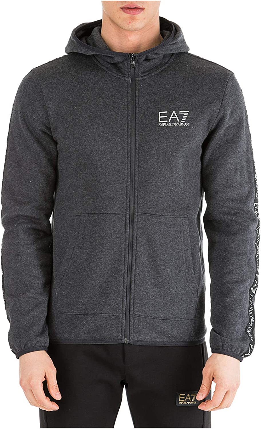 EMPORIO ARMANI EA7 Men Zip-up Sweatshirt Carbon Melange