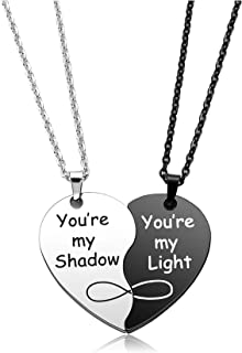 Personalized Master Custom Couples Heart Necklace Stainless Steel His and Hers Set of 2 Heart Puzzle Pendant Necklace You'...