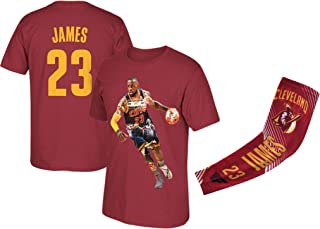 James Red Basketball Lebron T-Shirt Kids Youth Sizes Premium Quality Gift Set with Shooter Arm Sleeve or Backpack