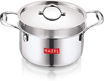 HAZEL Triply Stainless Steel Induction Bottom Cook and Serve Casserole with Stainless Steel Lid, 3.6 Litre, 20.5 cm
