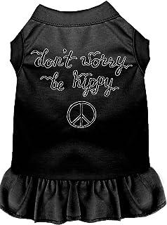 فستان للكلاب مطبوع عليه Be Hippy من ميراج بت برودكتس، مقاس 4XL، أسود