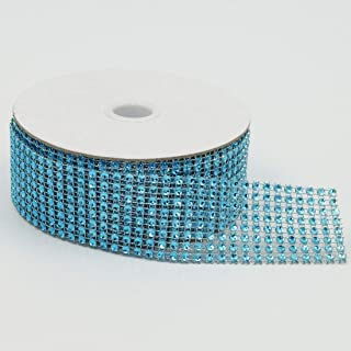 8 Rows 10 Yards 1.5 Inches 30 FT Sparkling Acrylic Rhinestone Ribbon Bling Diamond Mesh Wrap Trimming DIY Roll for Event Wedding Birthday Baby Shower Room Parties Crafts Projects (Sky Blue)