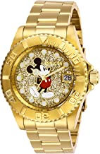 Invicta Women's Disney Limited Edition Quartz Watch with Stainless Steel Strap, Gold, 20 (Model: 27383)