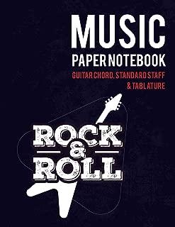 Music Paper Notebook: Guitar chord, Standard staff & Tablature | Rock & Roll Design (music notebook for guitar)