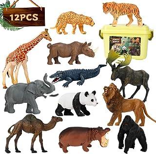 Elf Lab Safari Animal Figures, 12PCS Jungle Zoo Animals Toys, Realistic Wildlife Plastic African Animals Playset, Learning...