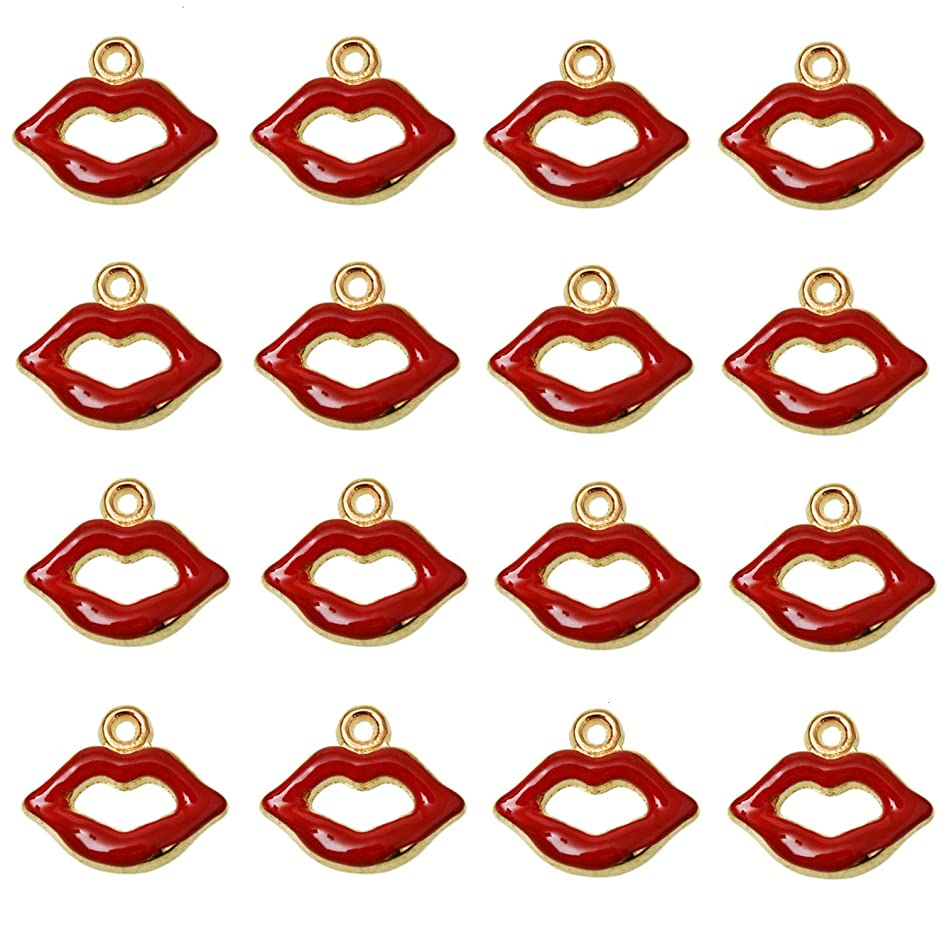 Monrocco 50Pcs Alloy Red Lip Enamel Charms Pendants Enamel Mouth Charm for DIY Necklace Jewelry Accessories