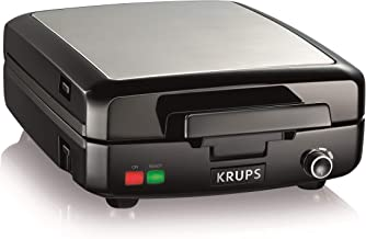KRUPS Belgian Waffle Maker, Waffle Maker with Removable Plates, 4 Slices, Black and Silver