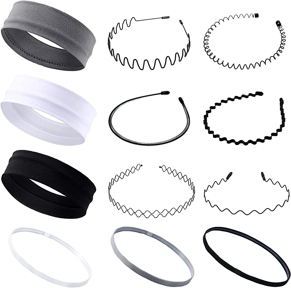 12 Pcs Multi-Style Metal Hair Hoop Headband Flexible Comb Hair Band Non-Slip Elastic Sport Headbands Unisex Headband Accessories for Men and Girls
