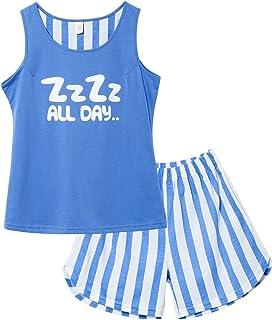 Jashe Girls Tank Top and Shorts Cotton Pajama Set Teens Cute Sleepwear Big Kids Size 12