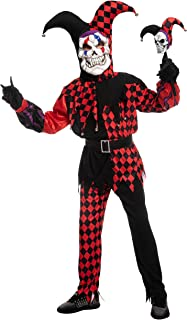 Spooktacular Creations Halloween Child Unisex Red Evil Jester Costume, Clown Costume for kid Role Playing Outfit