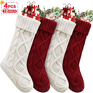 Christmas Stockings, 4 Pack Personalized Christmas Stocking 18 Inches Large Cable Knitted Stocking Decorations for Family Holiday Xmas Party Decor, Cream and Burgundy