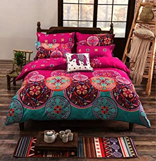 TINE Non-Iron Zippered Duvet Cover Set 2/3 PCS Single Double Plain Brushed Polyester Bedding Duvet Cover with Pillowcases Fade Resistant Vintage Pattern Quilt Cover Set,240x220cm