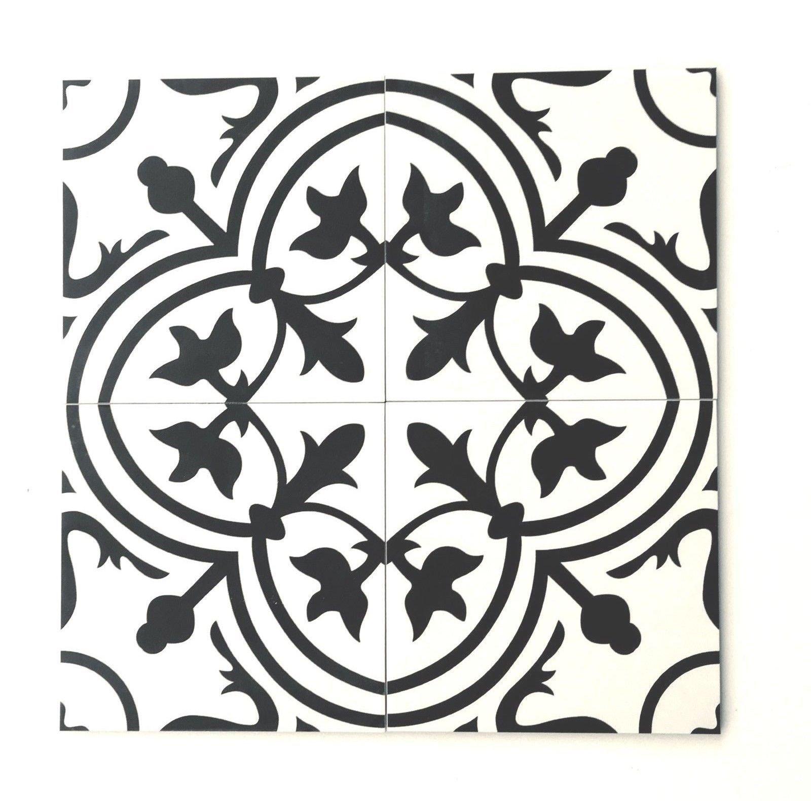 8x8 flora black white porcelain tile by squarefeet depot 10pcs
