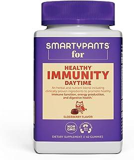 SmartyPants Adult Daytime Immunity Daily Gummy Multivitamins: Vitamin C, D, & Zinc for Immunity; Elderberry & Echinacea; B...