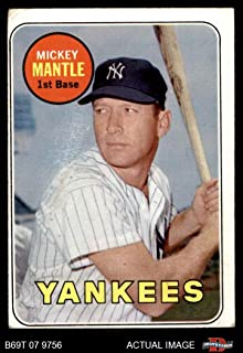 1969 Topps # 500 YN Mickey Mantle New York Yankees (Baseball Card) (Mantle in Yellow Letters) Dean's Cards 1.5 - FAIR Yankees