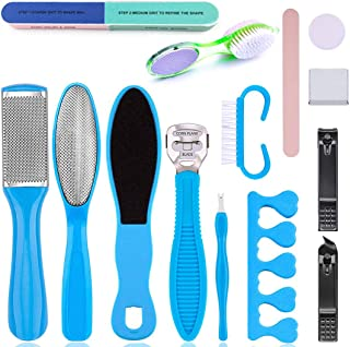 Foot File Kit, 15Pcs Professional Pedicure Kit Foot Files Set, Clean Feet Dead Skin Tool for Women Men Salon or Home