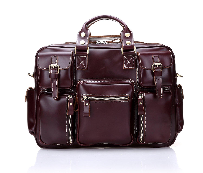 Geremen 欧美真皮长途旅行包 手提超大容量行李包 商务公文包 疯马牛皮男包 S8033 (红棕色)
