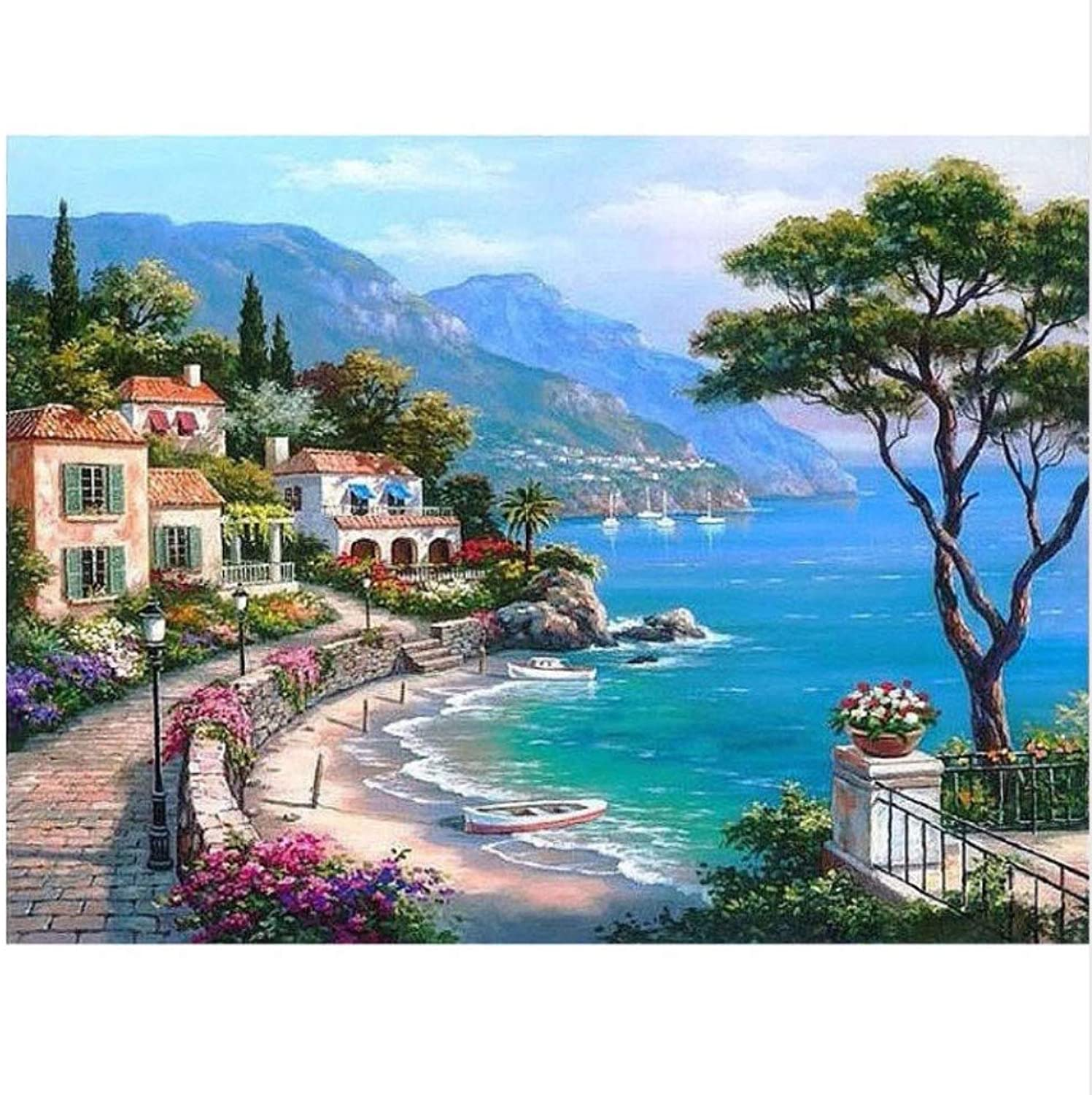 LIWEIXKY The Mediterranean Sea Seaside Diy Digital Painting By Numbers Wall Art Decoration Hand Painted For Home Decor, Framed, 50x60cm