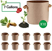 Anleolife 10-Pack 7 Gallon Potato Grow Bags, Fabric Planter Pots for Beets Strawberries Cucumbers (Tan)