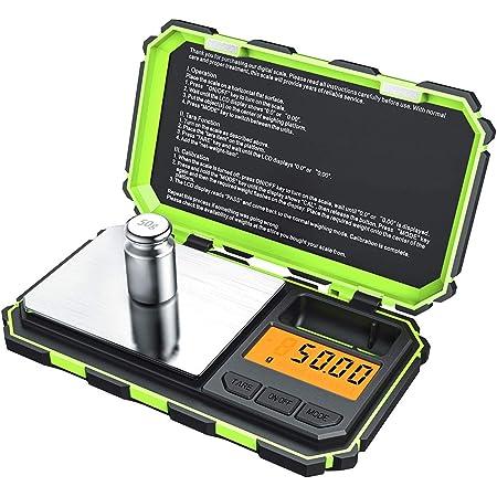 Brifit Balance de Précision, 200g/0.01g, 50g de Poids D'étalonnage, Balance de Precision 0.01g, Balance de Poche avec Écran LCD, avec Fonction de Tare, Acier Inoxydable (Batterie Incluse Vert)