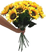 Charmly Artificial Sunflowers 5 Pcs Long Stem Fake Sunflowers Artificial Silk Flowers for Home Hotel Office Wedding Party ...