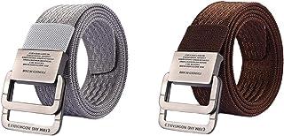 MESHIKAIER Unisex Nylon Cinturón Mujer Hombre Ajustable Militar Táctico Cinturón Deport Cinturón Casual Cinturón + Metal H...