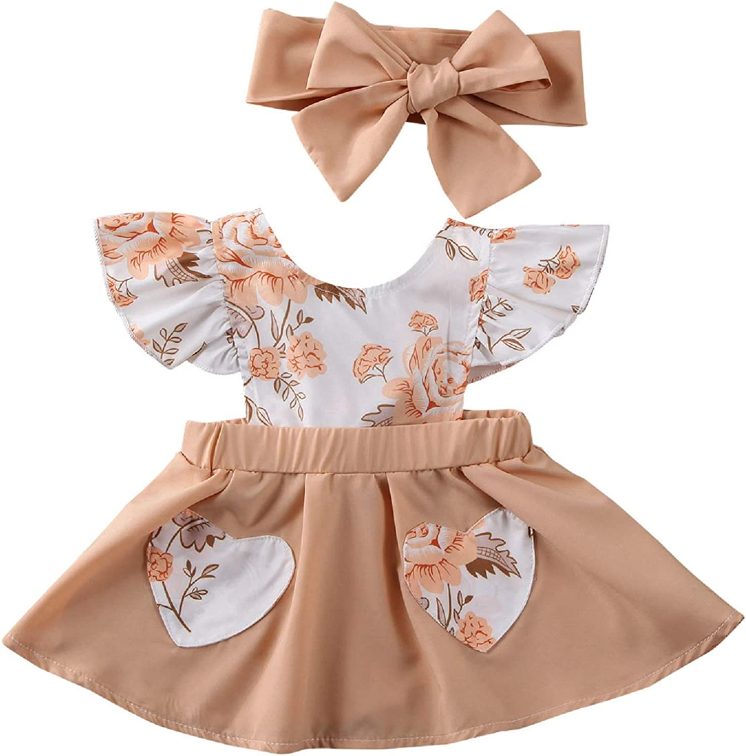 Max 75% OFF KIDSA Infant Baby Girl depot Floral Dress Outfit Backle Sleeve Ruffles