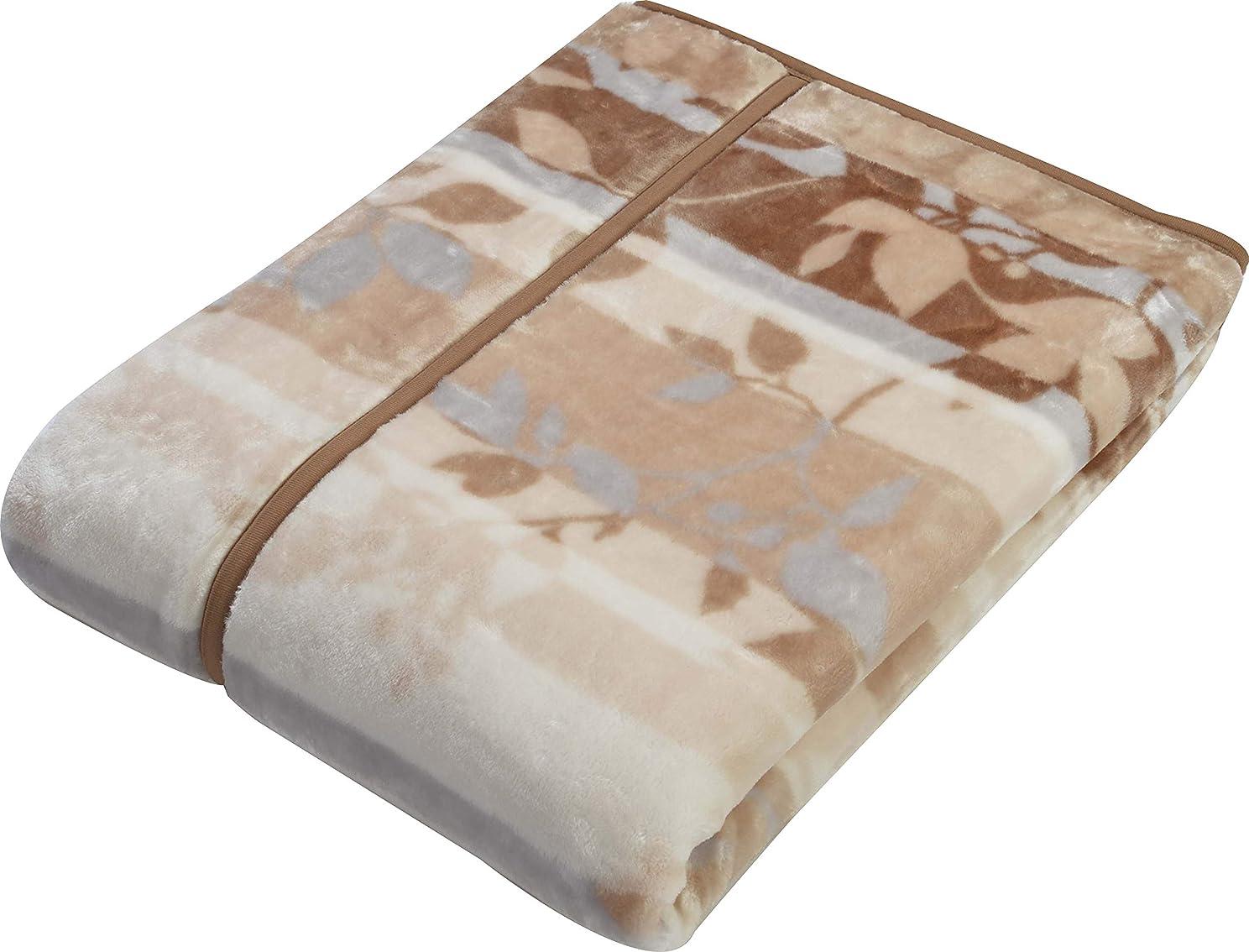 ましい特徴づける一握り西川(Nishikawa) 毛布 ベージュ ダブル 180×210cm 2枚合わせ 洗える 衿付き 両面プリント 2CQ5818D