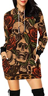Sugar Skull Day of The Dead Women's Long Sleeve Hoodie Mini Dress