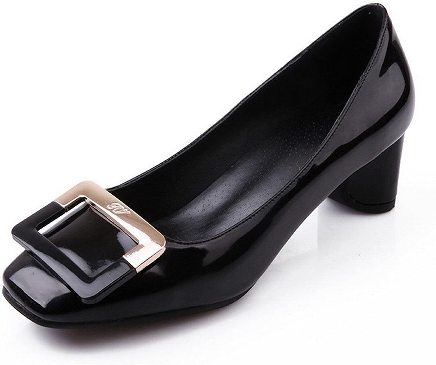 Tirahse Comfortable Women's Kitten Heels Patent Leather Solid Pull On Square Closed Toe Pumps-shoes