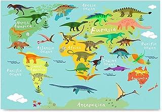 EzPosterPrints - Kids Animals Funny World Map - Poster Printing - Wall Art Prints - Dinosaurs - 12X16 inches