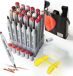24 Couleurs Feutre Alcool, Arrtx OROS double pointe pinceau et ciseau Marqueurs permanents d'art, avec sac, pour enfants, ...