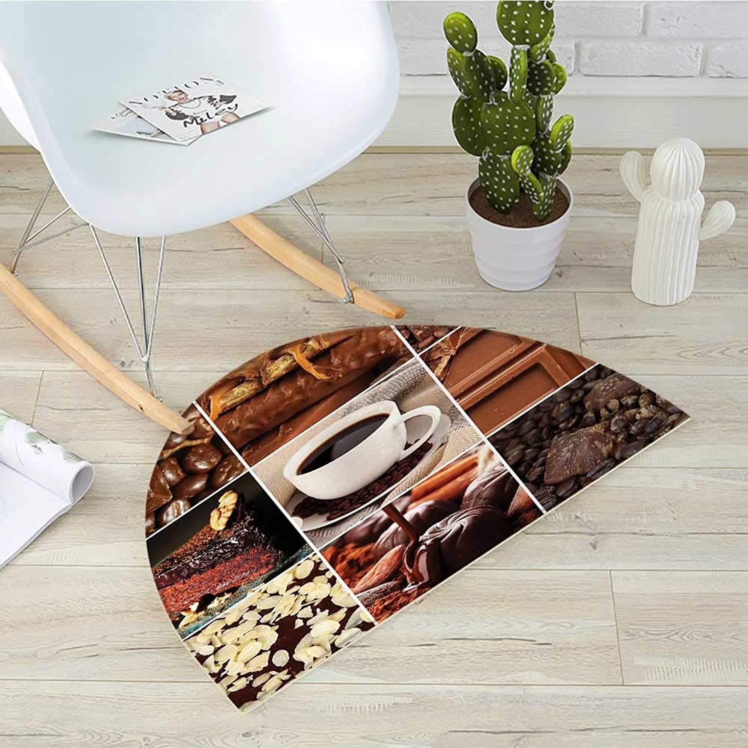 Brown Semicircle Doormat Coffee and Chocolate Tasty Collage Beans Mugs Snacks Pastries Espresso Cocoa Composition Halfmoon doormats H 39.3  xD 59  Brown