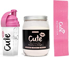 Cute Nutrition Strawberry Delight Whey Protein Powder Form Diet Drink for Women High Protein Low Calorie 500g tub with Pink 700ml BPA Free Shaker and Pink Medium Strength Resistance Band Estimated Price : £ 39,99