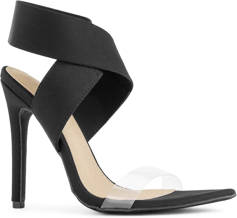 RF ROOM 至上 OF 低廉 FASHION Elastic Ankle Clear Heeled Dress Sa Strap PVC