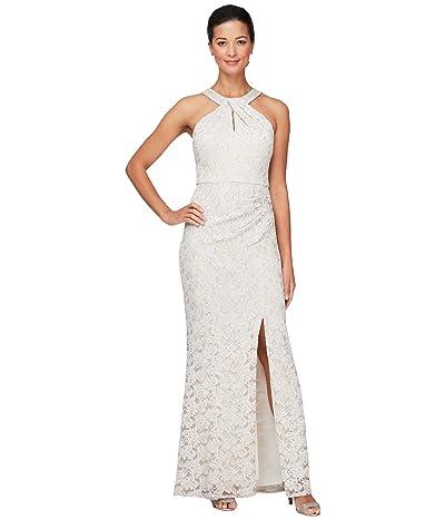 Alex Evenings Long Column Dress with Embellished Halter Neckline Women