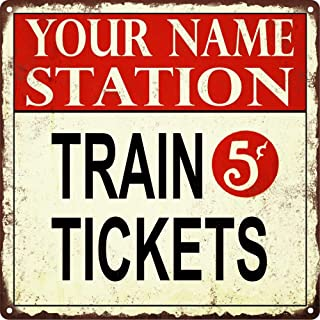 PotteLove Your Name Custom Train Station Tickets 5 Cent Man Cave 12x12 Metal Sign