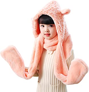 Unisex Scarves Hat Gloves Kid 3 in 1 Animal Winter Ski Scarf Cap Paw Mitten,2.3m