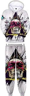 HoneyStore Unisex Skull Hoodie Pants Sets Skeleton Tracksuit 3D Jogging Suit