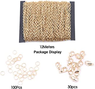 Qitian 3X4mm 12Meters Open Link Oval Cable Chain KC Gold Plated Link Chain with Lobster Clasp Open Jump Ring